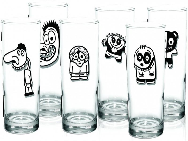 Jogo com  6 Copos Long Drink Funny Cartoons